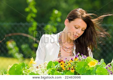 Summer Garden Beautiful Woman Care Color Flowers