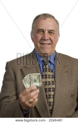 Older Businessman Offering Cash