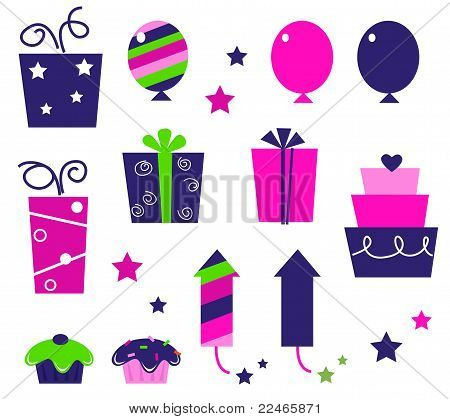 Birthday Party Icons And Elements Isolated On White - Pink, Blue