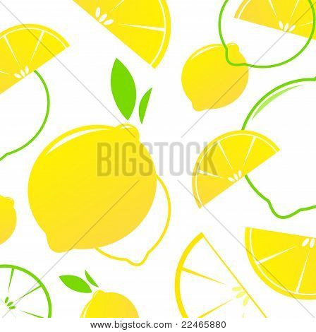 Lemon Slices Vector Retro Background Or Pattern - Yellow & White.