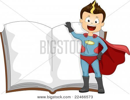 Illustration of a Kid Dressed as a Superhero Standing Beside a Book