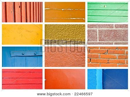 Colorful Wall And Wood Texture Collage