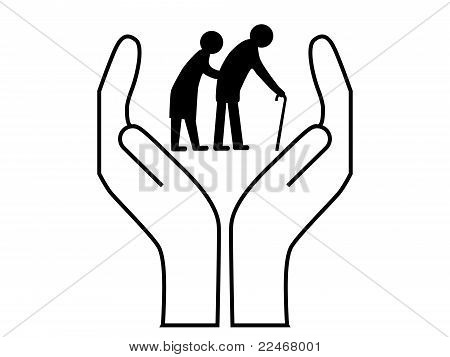 Elderly people care icon