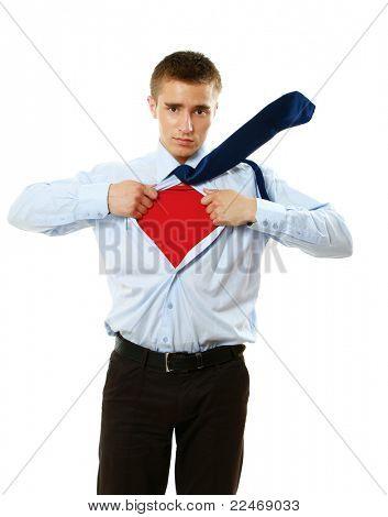 Um pé de super-herói isolado no fundo branco
