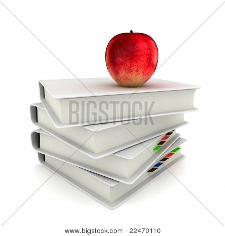 3D Bücher mit Red Apple Back To School