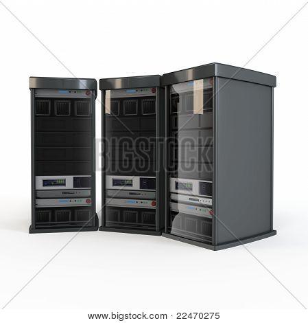 3D Row Of Server Racks