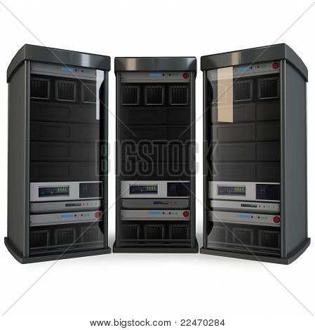 3D Row Of Server Racks