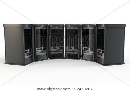 3D Zeile des Server-racks