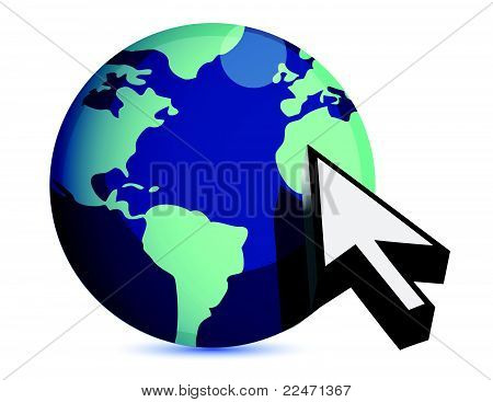 3d illustration of earth and mouse cursor, internet concept