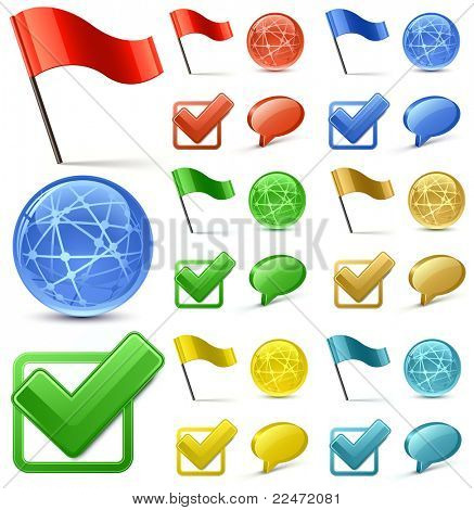 Shiny Glossy Web Icons. Vector Illustration