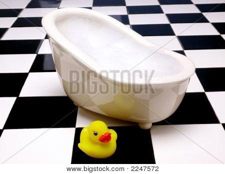 Rubber Duck On Tile