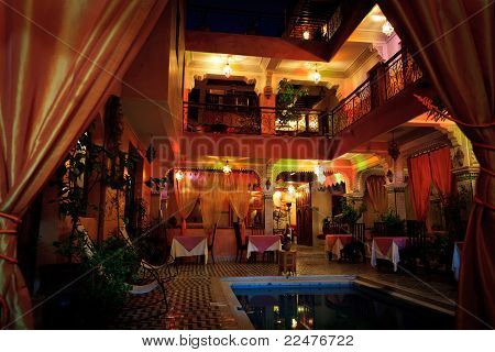 Colorful Interior Lights At Night Inside A Riad