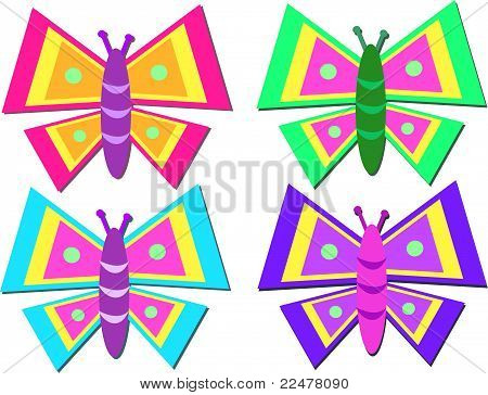 Mix of Colorful Stylized Butterflies