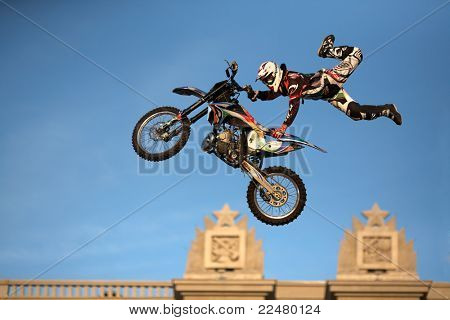 SAMARA, RUSSIA - AUGUST 4:  Vanni ODERRA (ITALIA) performs a trick  during Adrenalin Rush FMX show August 4,2011 in Samara, Russia