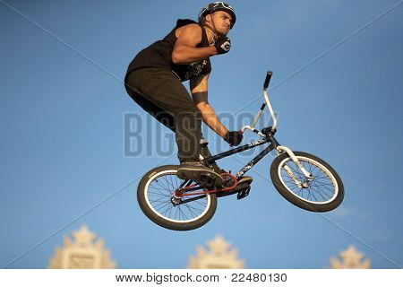 SAMARA, RUSSIA - AUGUST 4: BMX jump athlete Ruslan Kutulbaev during Adrenalin Rush FMX show August 4,2011 in Samara, Russia