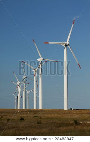 Series Of Wind Power Generators In A Grass Field