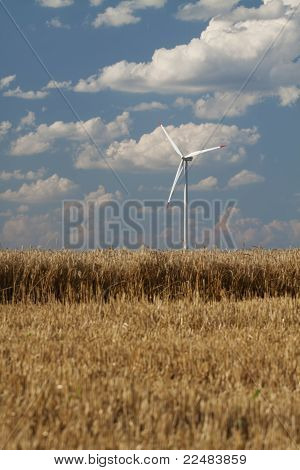 Wind Power Generator In A Wheat Field