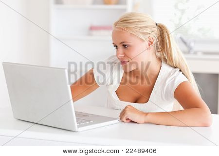 Woman Using A Notebook