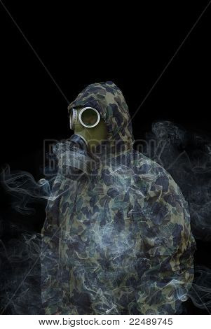 Man In Anti-gas Mask