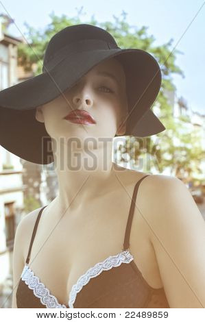Portrait Of Sensual Elegant Woman In Black Hat