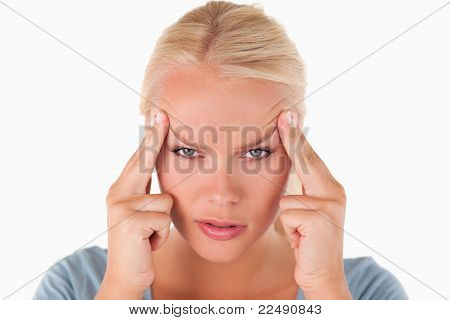 Blond Woman With A Headache