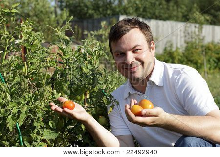 Happy Man In Garden