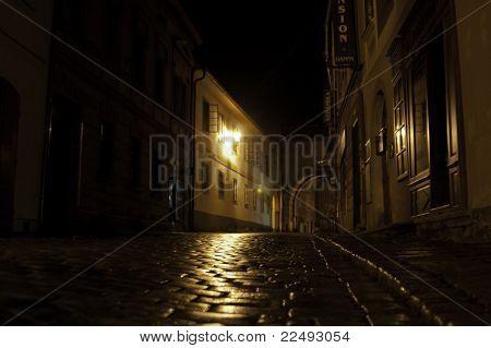 European Street At Night After Rain