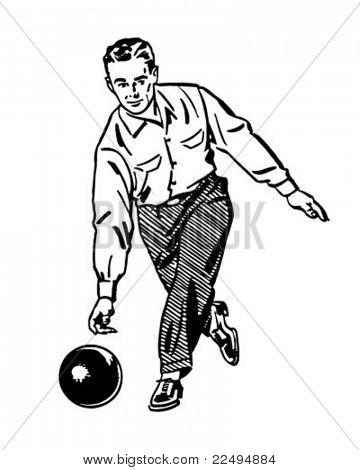 Man Bowling 2 - Retro Clipart Illustration