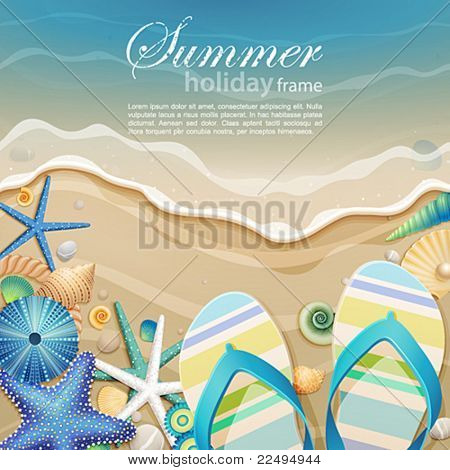 Flip-flops and shells on the beach. Vector illustration.