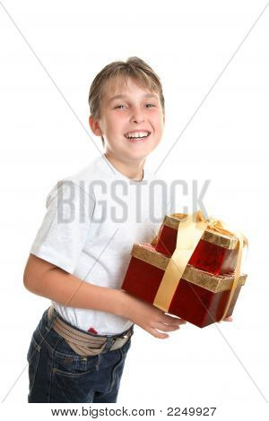 Jubilant Child Carrying Presents