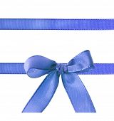 stock photo of ribbon bow  - blue ribbon bow isolated on white - JPG