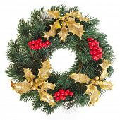stock photo of christmas wreath  - Christmas wreath isolated on white background - JPG