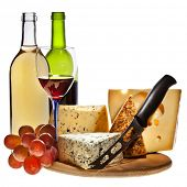stock photo of brie cheese  - Grape wine with cheese isolation - JPG