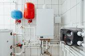 modern independent heating system in boiler room poster