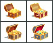 Treasure Box Posters Collection, Casket With Golden Coins And Royal Crown, Diamonds And Jewelry With poster