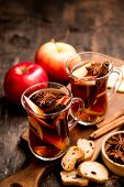 Hot Spicy Beverage. Hot Drink (apple Tea, Punch) With Cinnamon Stick And Star Anise. Seasonal Mulled poster
