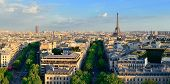 Paris rooftop view skyline and Eiffel Tower panorama in France. poster