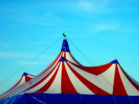 stock photo of circus tent  - The Top of a US Style Circus Tent - JPG