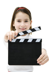 picture of clapper board  - young girl holding a movie clapper isolated on white background - JPG
