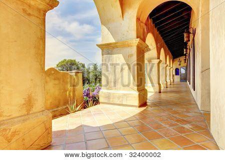 Spanish Architecture Columns Details Exterior.