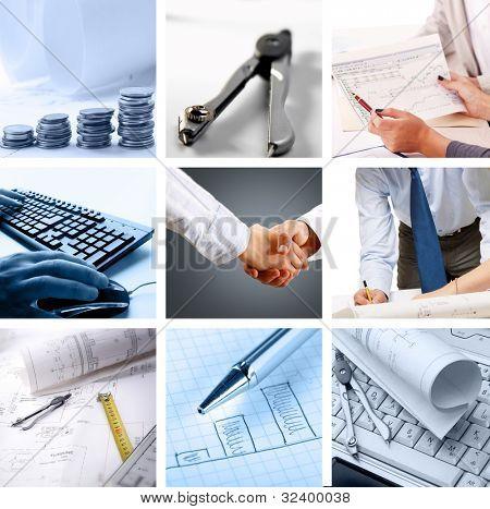 照片上的一个成功的企业主题的拼贴画