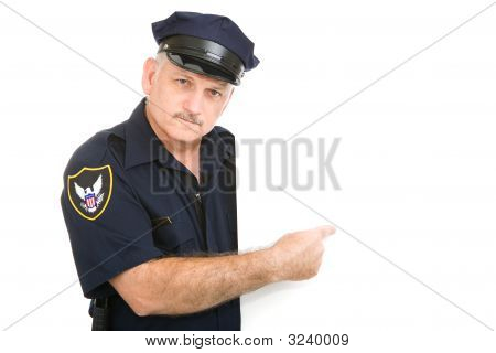 Serious Policeman Pointing