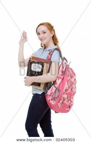 Friendly Greeting Caucasian College Student With Backpack