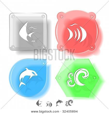 Animal icon set. Fish, Killer whale, wave.  Glass buttons. Raster illustration.