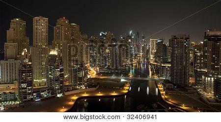 Dubai  Marina  in the night time