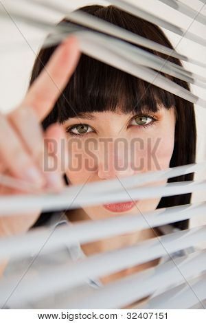 A woman opens her blinds to look through the window into the camera