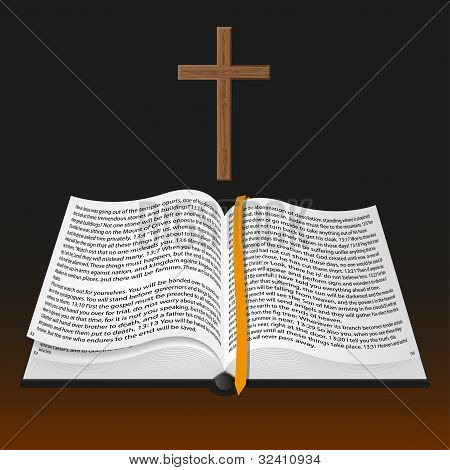 Vector Bible With Cross