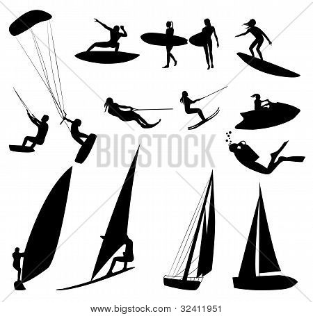 Silhouettes Of Water Sports, Isolated On White.