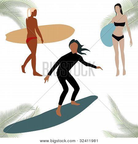 Colorful Sihouettes For Surf Figures, Isolated On White