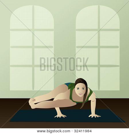Young Woman Practicing Yoga Astavakrasana(eight Angle Yoga Pose)